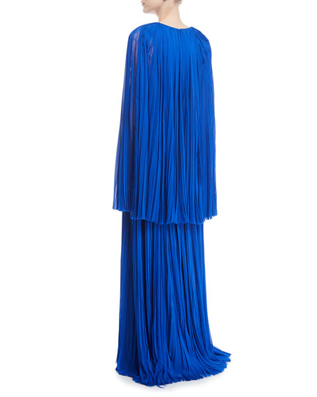 Hand-Pleated V-Neck Cape Gown