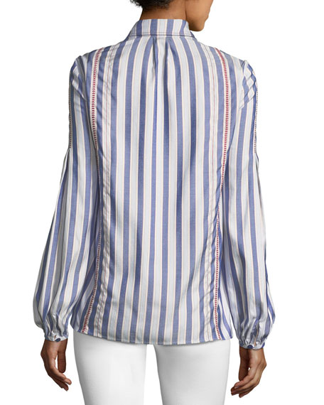 Striped Puff-Sleeve Blouse