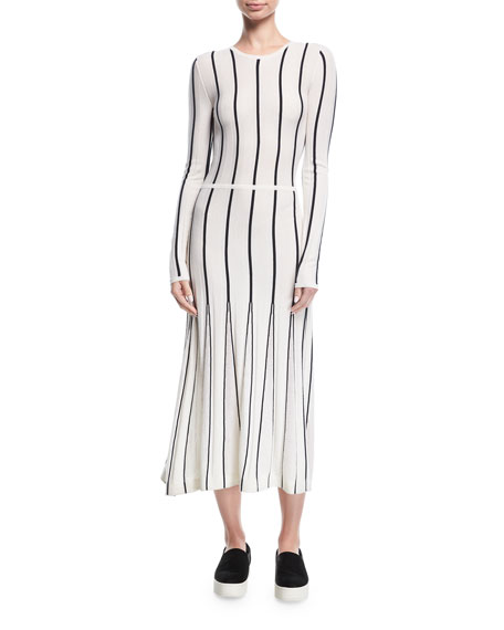 Striped Long-Sleeve Midi Dress