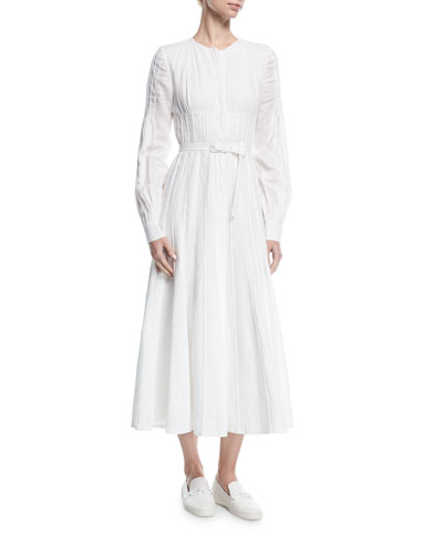 Seamed Collarless Midi Shirtdress