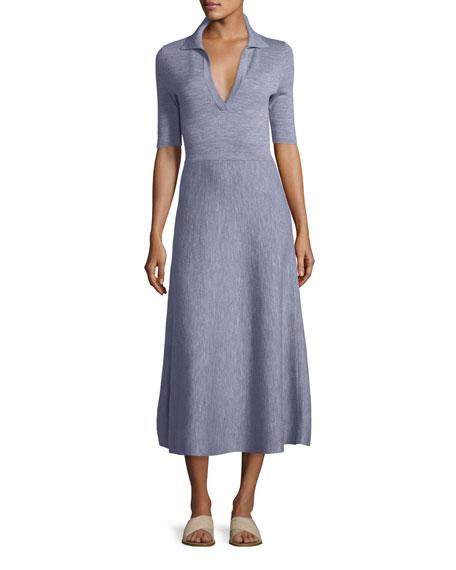 Half-Sleeve Knit Polo Midi Dress
