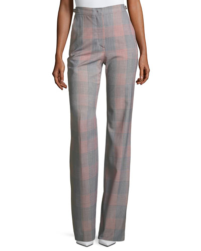 Plaid Straight-Leg Pants