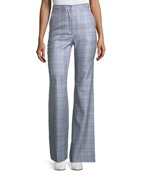 Wide-Leg Plaid Pants