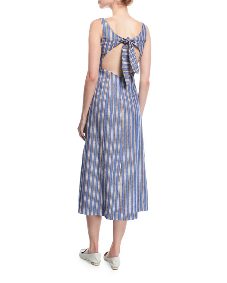 Striped Sleeveless Tie-Back Linen Dress