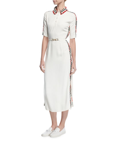 Crochet-Trim Midi Polo Dress