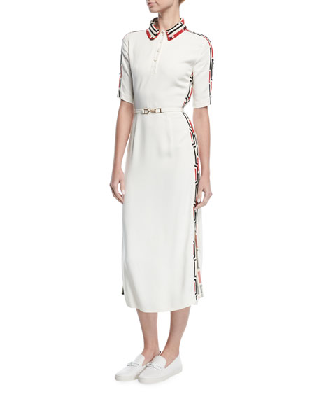 Crochet-Trim Midi Polo Dress