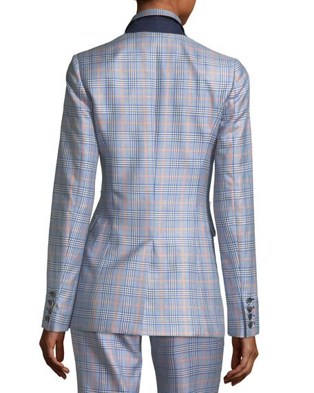 Plaid Notch-Collar Blazer