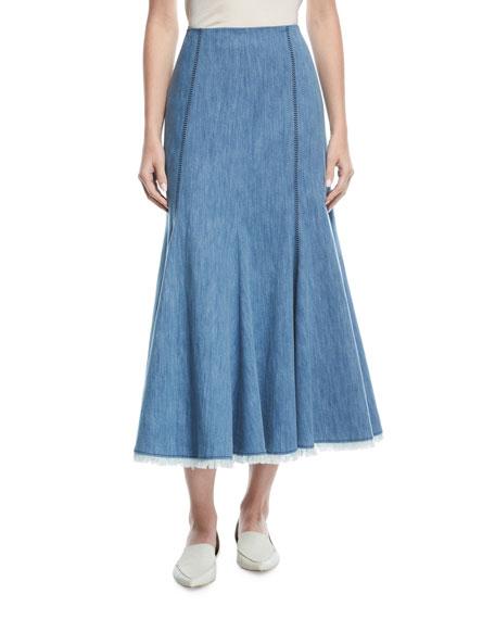 Flared Chevron-Stitch Midi Skirt