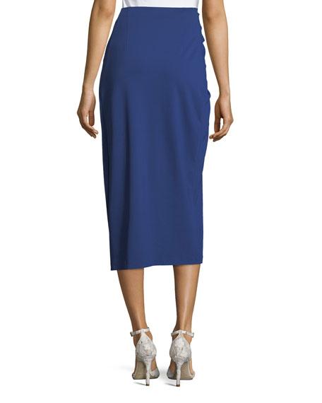 Twist-Front Jersey Midi Skirt