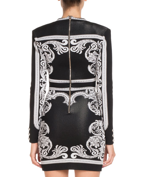 Long-Sleeve Deep-V Fitted Baroque Short Dress