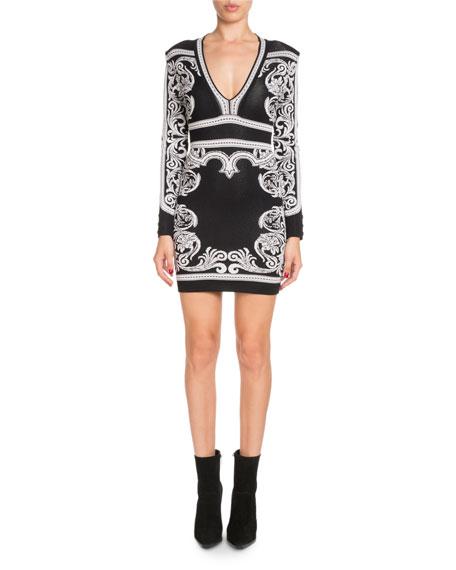 Long-Sleeve Deep-V Fitted Baroque Short Dress
