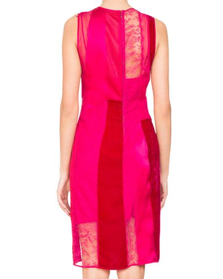 Patchwork Sleeveless Mixed-Media Dress