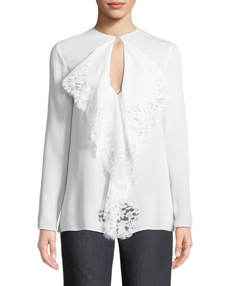 Flowy Lace Tie-Neck Blouse