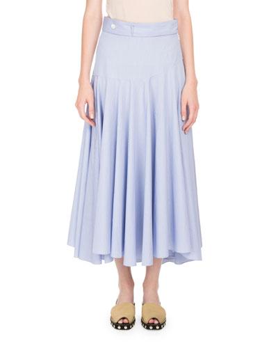 Pinstriped Midi Circle Skirt