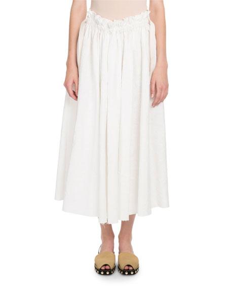 Eyelet Drawstring Midi Skirt