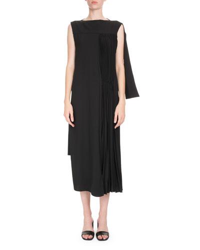 Sleeveless Pleated Asymmetric Dress