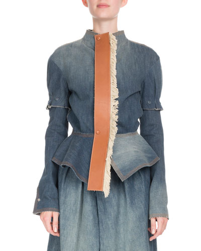 Denim Puff-Sleeve Jacket with Leather Placket