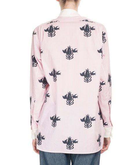 Asymmetric Floral-Stamped Blouse