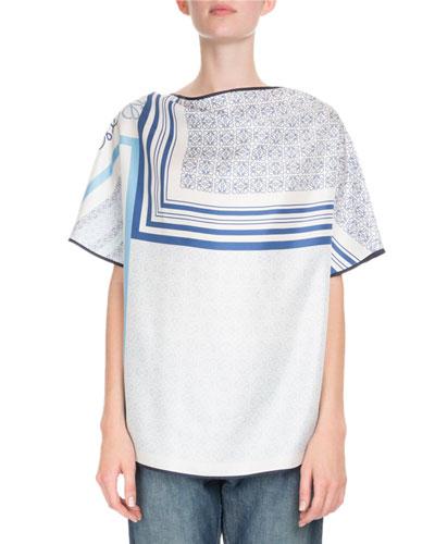 Scarf-Print Silk Blouse