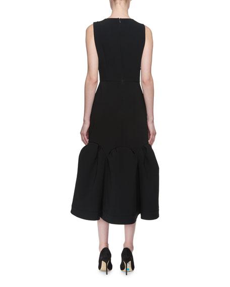 Raven Dragonfly-Beaded Puff-Hem Midi Dress