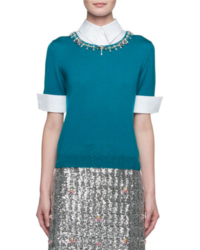 Ella Embellished Point-Collar Knit Combo Top