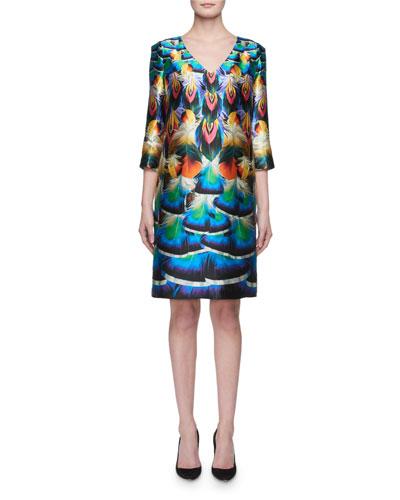 Shea 3/4-Sleeve Feather-Print Silk Dress