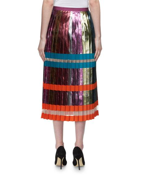 Nighthawk Pleated Metallic Colorblock Midi Skirt