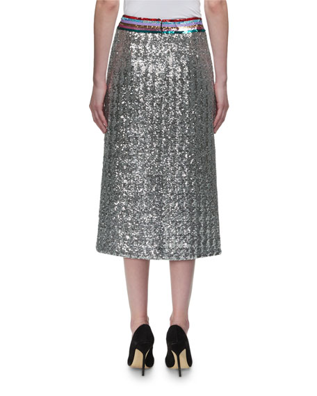 Sigma Dragonfly-Beaded Midi Skirt