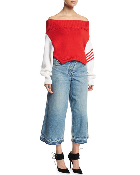Asymmetric Cropped Wide-Leg Jeans