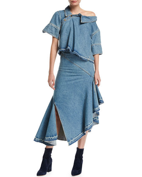 Asymmetric Ruffled Denim Midi Skirt