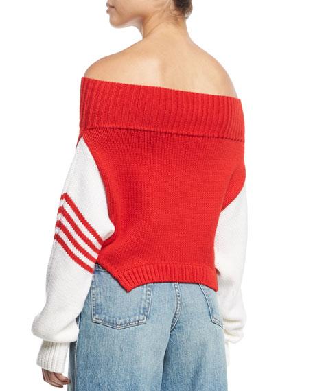 Knit Off-Shoulder Side-Stripe Sweater