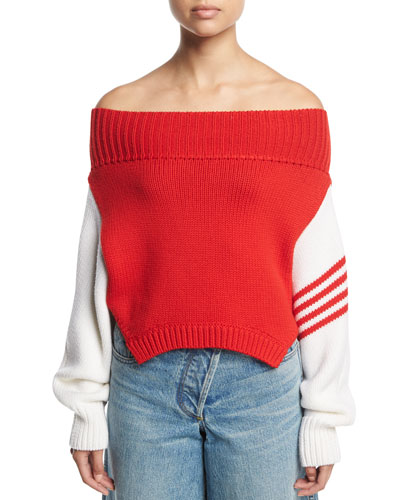 Knit Off-Shoulder Side-Stripe Sweater