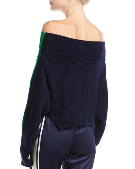 Bicolor Knit Off-Shoulder Sweater