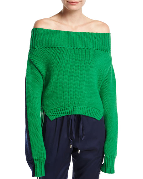 Bicolor Knit Off-Shoulder Sweater