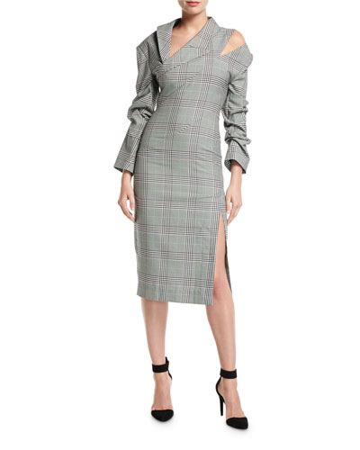 Ruched Plaid Check Pencil Dress