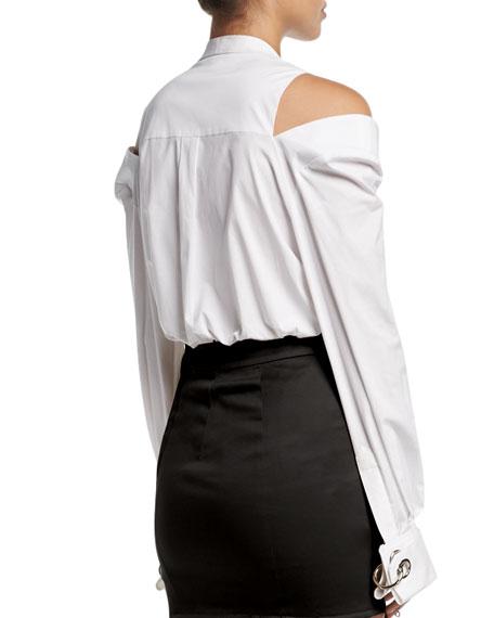 Slit-Shoulder Cotton Blouse