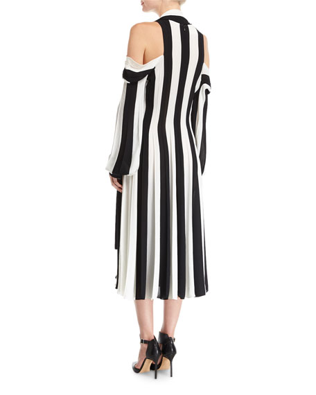 Striped Cold-Shoulder Midi Dress