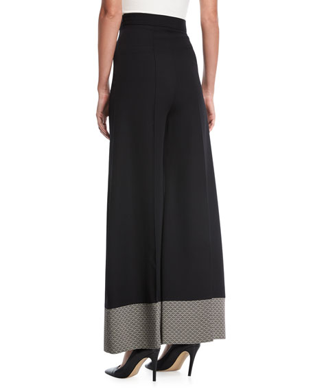 Wide-Leg Pants with Contrast Hem