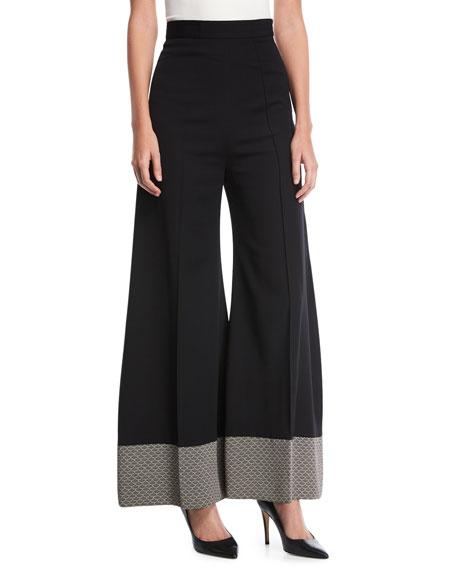 Wide-Leg Pants with Contrast Hem