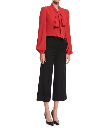 Cropped Wide-Leg Wool Pants
