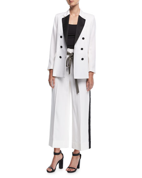 Cropped Wide-Leg Tuxedo Pants with Wave-Print Belt