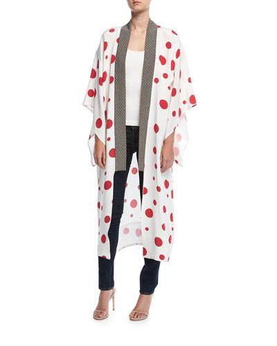 Polka Dot Long Silk Kimono