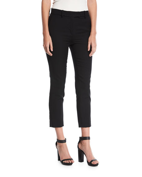 Cropped Straight-Leg Wool Pants