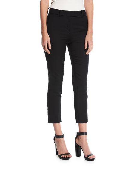 Cropped Straight-Leg Wool Pants