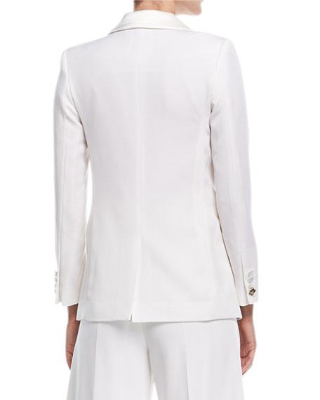 Satin-Lapel Two-Button Long Jacket