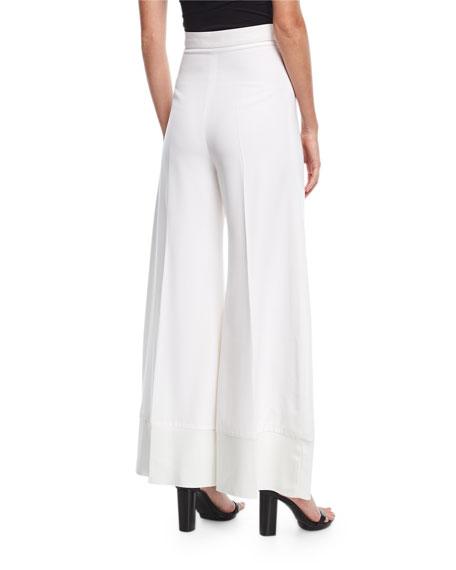 Wide-Leg Flared Wool Pants