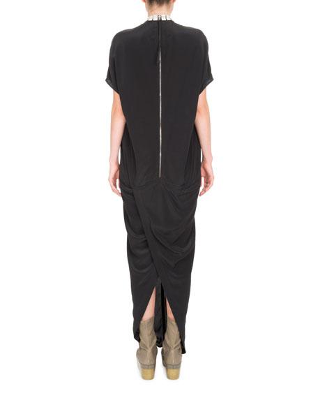Short-Sleeve Beaded High-Neck Gown