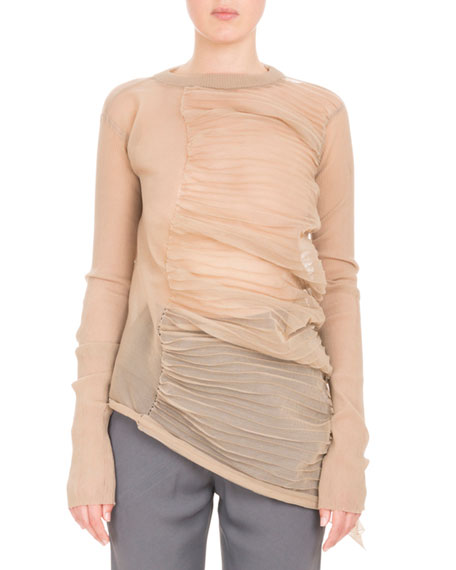Ruched-Side Crewneck Top