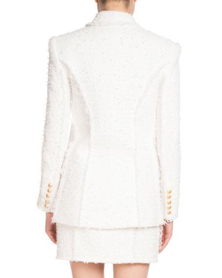 Shawl-Collar Double-Breasted Tweed Jacket