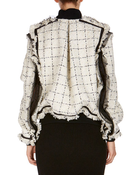 Frayed Tweed Bomber Jacket